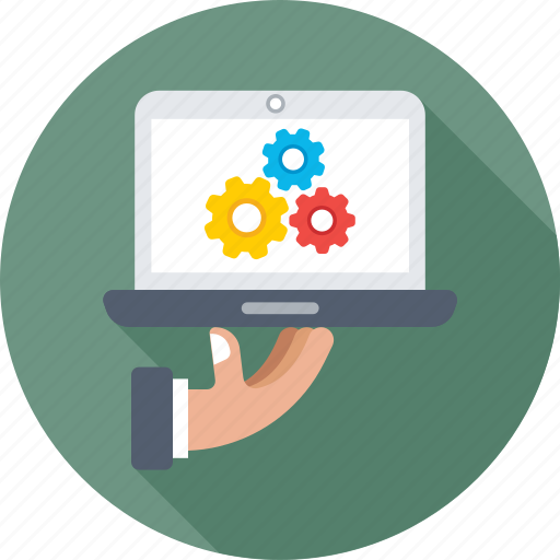 cogwheel, gear, laptop, preferences, settings icon