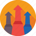 achievement, arrows, business, growth, upgrade icon