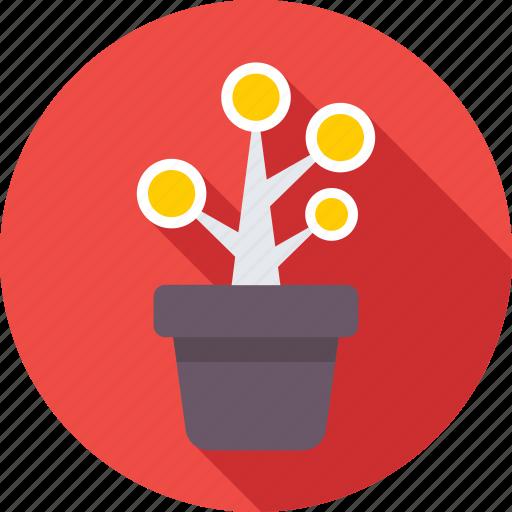 business growth, investment, money plant, plant, plant pot icon