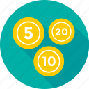 coins, five, ten, twenty, weight coin icon