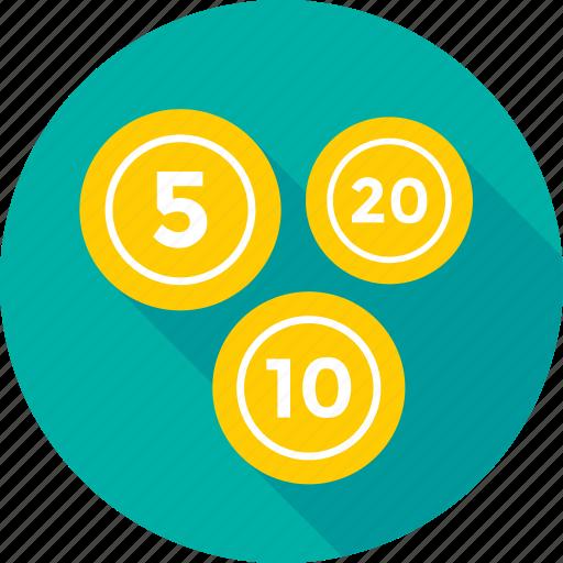 coins, five, ten, twenty, weight coin icon