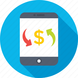 digital currency, dollar, mobile, money exchange, online exchange icon