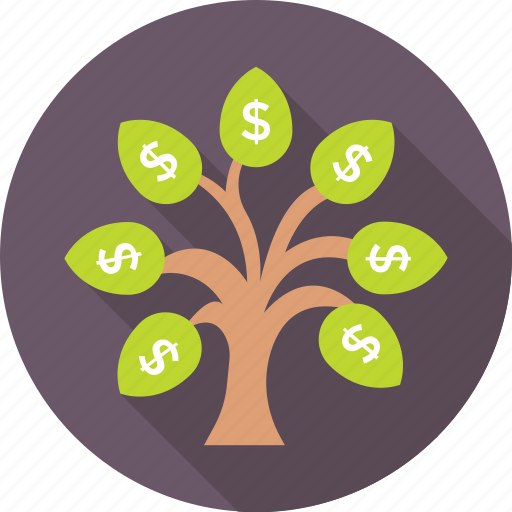 branches, currency, dollar, money plant, tree icon