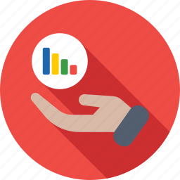 bar graph, graph, growth, hand, hand gesture icon
