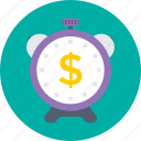 abstract, currency, dollar, time is money, timepiece icon