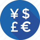 currency symbols, dollar, foreign currency, pound, yen icon