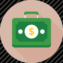 bag, briefcase, case, currency briefcase, office icon
