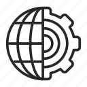 conversion, gears, global, globe, settings icon
