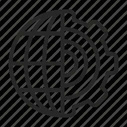 conversion, gears, global, globe, settings icon