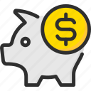 bank, banking, coin, dollar, finance, pig, piggy icon