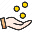 bank, banking, business, coin, fall, finance, hand icon