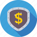dollar, locker, money protection, security, shield icon