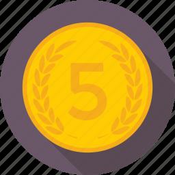 coin, finance, five, saving, token icon