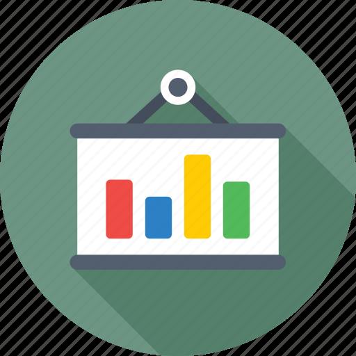 bar chart, bar graph, graph, hanging board, hanging graph icon