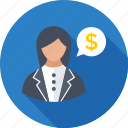 adviser, business consultant, chat bubble, dollar, legal adviser icon