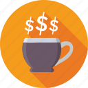 break, business, dollar, instant tea, tea cup icon