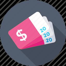 card, dollar, dollar card, pass, ticket icon