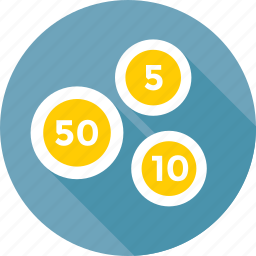 coins, fifty, five, numbering, ten icon