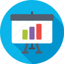 analytics, bar graph, presentation, statistics, training icon