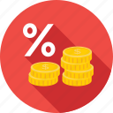 coins, percentage, profit ratio, share, treasure icon