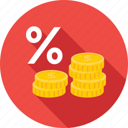 coins, percentage, profit ratio, share, treasure icon