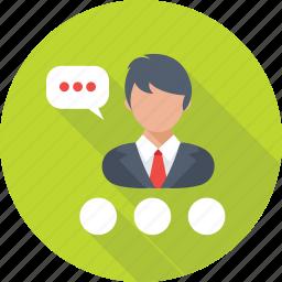 adviser, business consultant, chat bubble, legal adviser, male icon