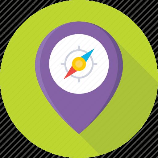 compass, gps, indicator, map pin, pin icon