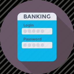 banking, login, padlock, password, security icon