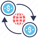 cash, exchange, flow, global, money, transaction, transfer icon