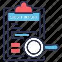 bank, bureau, check, credit, history, statement, transaction icon