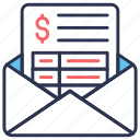 bank, email, invoice, letter, mail, send money, statement icon