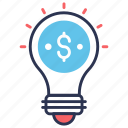 bulb, business, business creative, creative, idea, money, solution icon