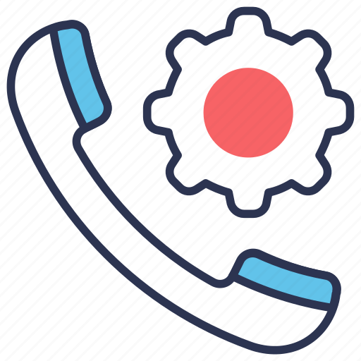 gear, help, phone, support, technical icon