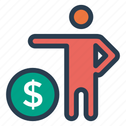 banking, cash, coin, finance, user icon