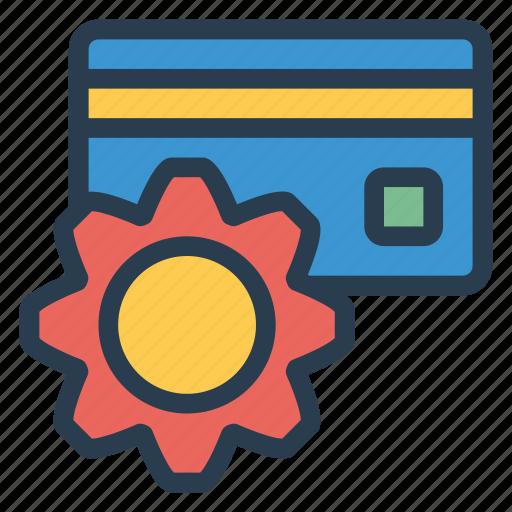 card, credit, dibet, gear, options, setting icon