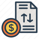 business, cash, contract, currency, finance, money, report icon