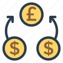 change, currency, dollar, exchangeideas, finance, money, stockexchange icon