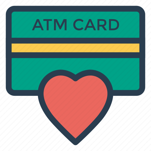 atmcard, card, credit, debit, favorite, heart, payment icon