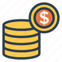 cash, coins, currency, finance, goldcoins, money, stackofcoins icon