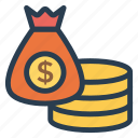 cash, currency, dollar, finance, money, moneybags, moneyexchange icon