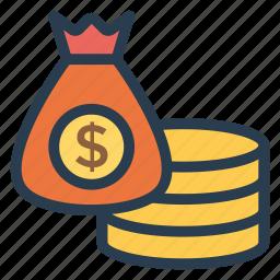 cash, currency, dollar, finance, money, moneybags, moneyexchange icon