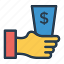 cash, cashinhanduk, currency, dollar, finance, gesture, money icon