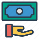 cashinhanduk, currency, dollar, finance, gesture, money, moneyinhand icon