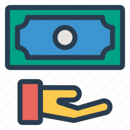 cashinhanduk, currency, dollar, finance, gesture, money, moneyinhand icon