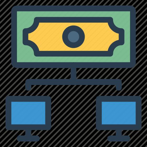 cash, connection, internet, money, network, payment, social icon