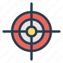 aim, arrow, bullseye, focus, goal, marketing, target icon