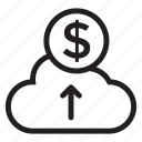 cash, cloud, coin, finance, money, payment, weather icon