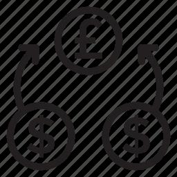change, currency, dollar, exchangeideas, finance, money, stockexchange icon