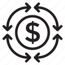 card, cash, circle, exchange, finance, money, recycle icon