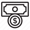 cash, coins, currency, dollar, finance, money, moneycard icon